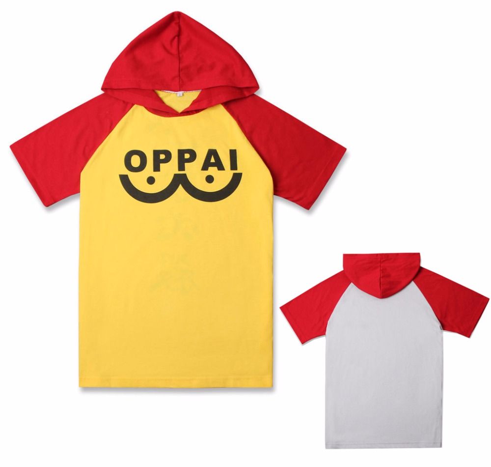 Anime ONE PUNCH MAN Saitama Oppai T-shirt Cosplay Costume Short Sleeve Hooded Tee Shirt Daily Hoodies Casual Sweatshirt