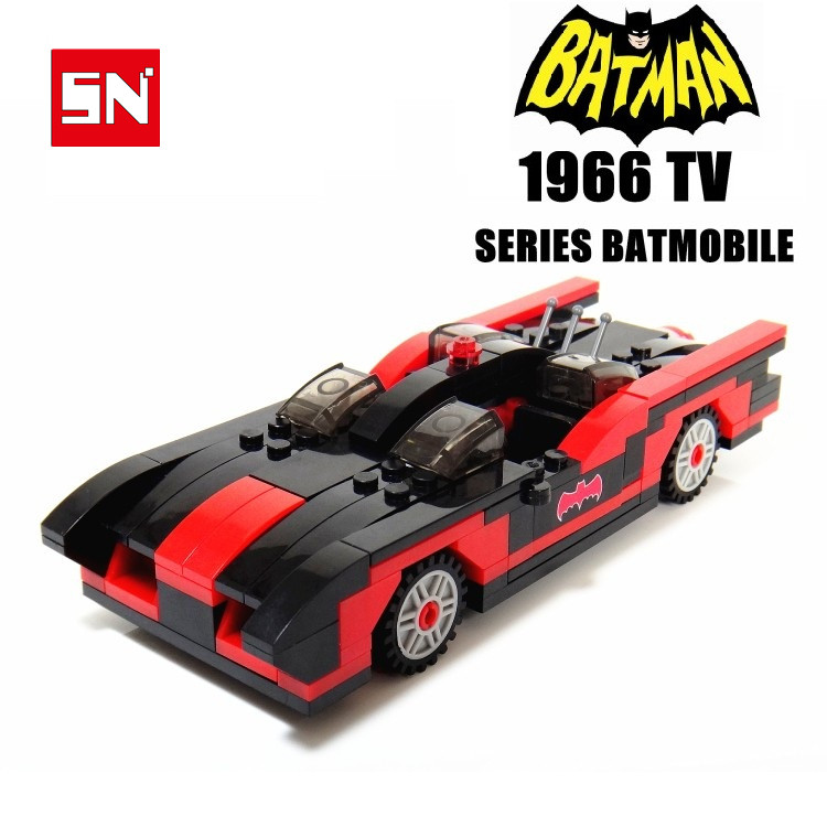 Livraison gratuite BATMAN-1966 série TV BATMOBILE iron man rouge LIMOUSINE Roadster bricolage éclairer bloc briques de construction bébé jouets