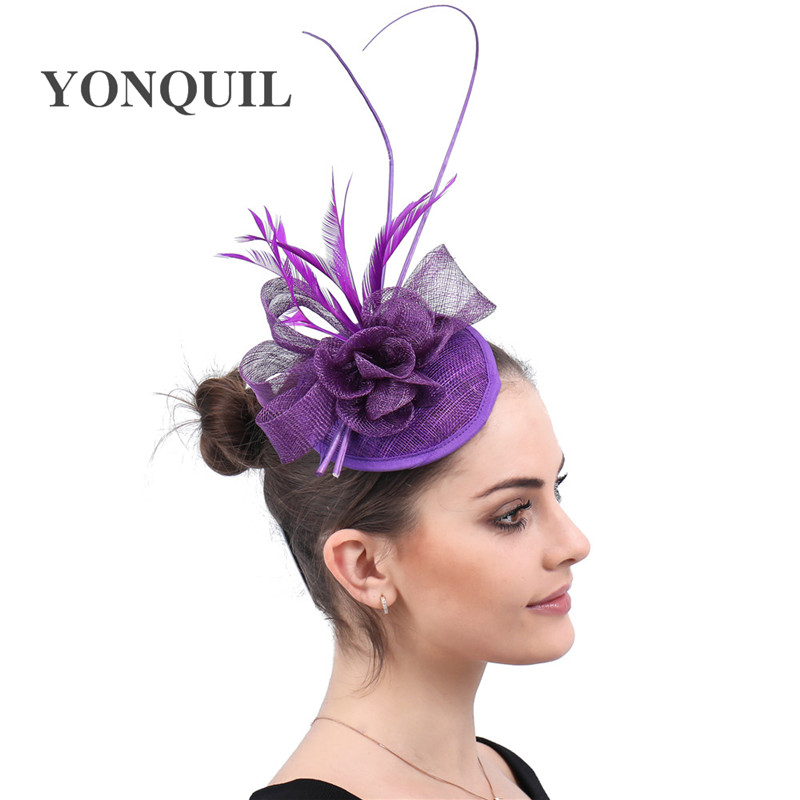 Purple Cocktail Hat Sinamay Fascinators Millinery With Feather Wedding Hair Accessories NEW ARRIVAL High Quality Multiple Colors