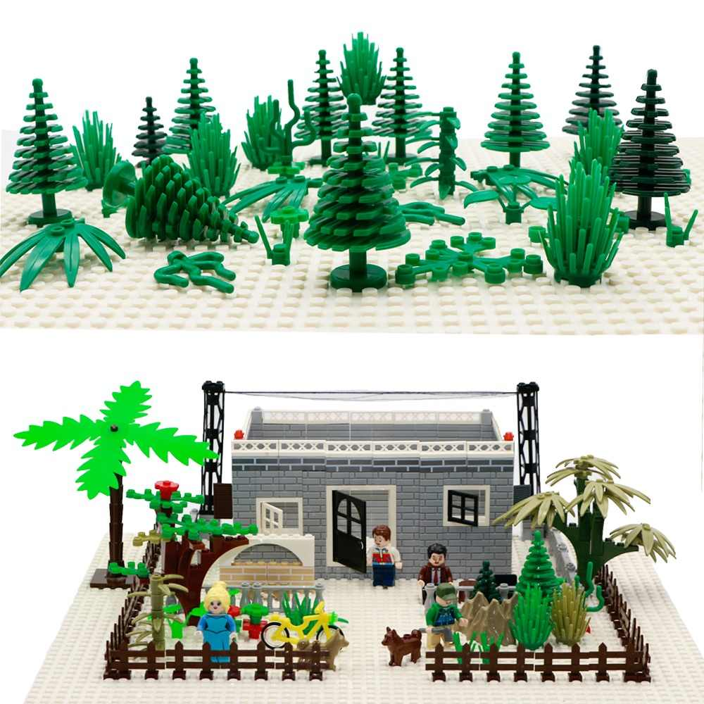 City Accessories Building Blocks Military Weapon Green Bush Flower Grass Tree Plants House Toys Leaves Compatible Bricks Friends