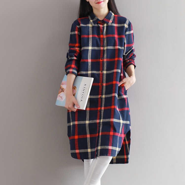 La MaxPa/клетчатое платье-рубашка; сезон весна-осень 2018 года; свободное однобортное Хлопковое платье с длинными рукавами для девочек; Vestidos