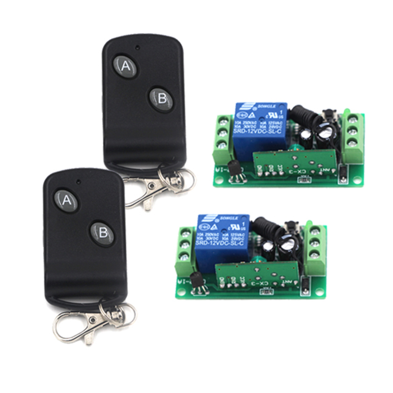 DC 12V 1 CH RF Switch Wireless Remote Control Switch System 315/433MHZ Garage Door Remote Control 2 Transmitter 2 Receiver 4245 dc 12v 1 ch switch 1ch rf wireless remote control switch system 315 433 mhz 2 transmitter and 1 receiver