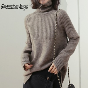 Image 1 - new sweater women turtleneck Loose sweaters pullover women striped knitted sweater cashmere sweater women winter clothes women