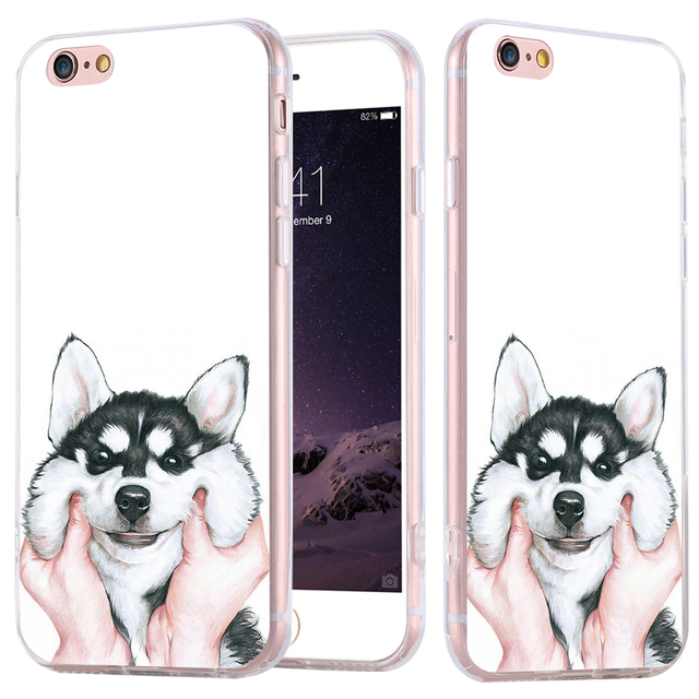 fef02ef7a9 i7 Note 7 Puppy Phone Cases for Apple iPhone 6 6s 7 Plus Phone Case Fashion  Luxury Thin Funny Dog Cartoon Back Covers Capa