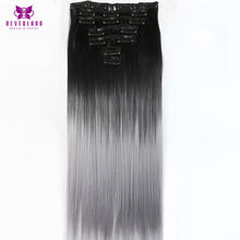 Neverland Beauty & Health 16Clips 24″ Silver Grey Ombre Synthetic Hairpieces Straight Style Clip-in One Piece Hair Extensions