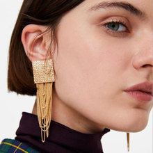 RscvonM Vintage Long Tassel Earrings for Women Drop Dangle Pendientes Fashion 2018 Statement Big Square Earring Female Gift(China)
