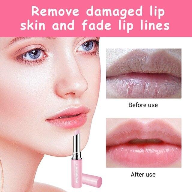 Extracto Natural de rosa de bálsamo de labio máscara se desvanecen líneas del labio aliviar la sequedad nutritiva de los labios de larga duración de uso diario de labios cuidado