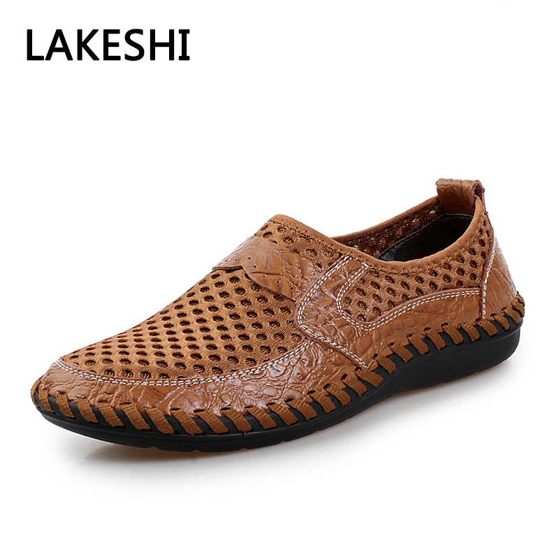 New 2017 Hollow Out Breathable Summer Genuine Leather High Quality Fashion Shoes Men Male Casual Shoe