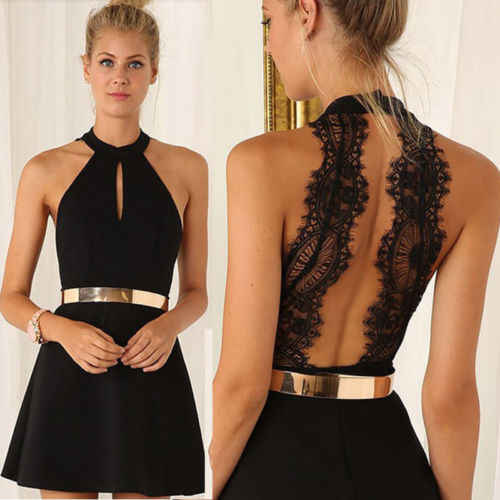 Stijlvolle Vrouwen Mouwloze Backless Hoge taille Halter Black Lace Riem Nobele Korte Jurk Lady Summer Casual Ball Party Dress s-XXL