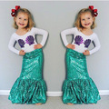 Children Baby Girl Shell Tops T-shirt+ Fishtail Skirts Mermaid 2pcs Outfits Toddler Girls Child Clothing Set Costume H00163
