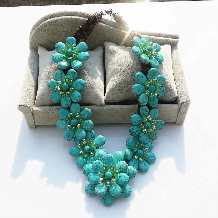European style womens exaggerated flower necklace luxury turquoises Stone necklace for women fashion summer dress chain