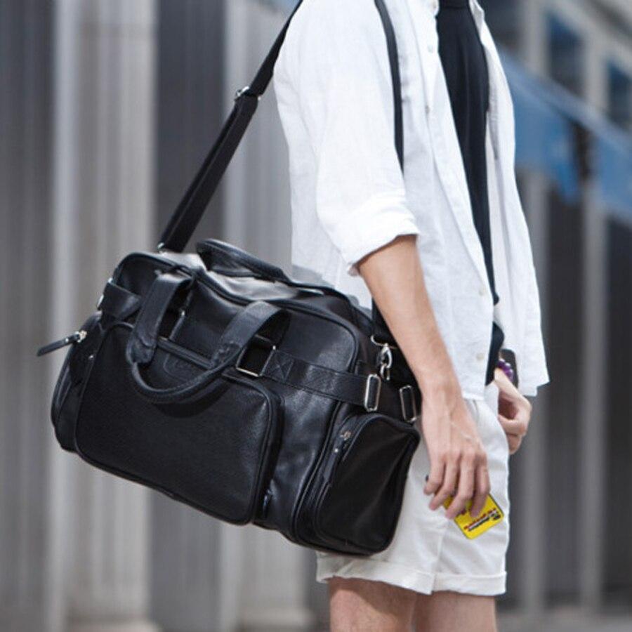 Mode PU zippé hommes ou femmes sac de voyage polyvalent solide imperméable noir Cool sacs à bandoulière sac à main multifonction Duffle-in Voyage Sacs from Baggages et sacs    3