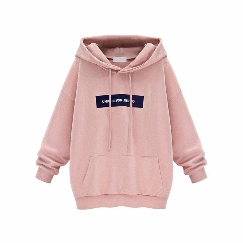 Plus Size Harajuku Sweatshirt Women Cotton Casual Plus Velvet Loose Print Letter Pink Hoodie Svitshot Women Hoodies Coat HT