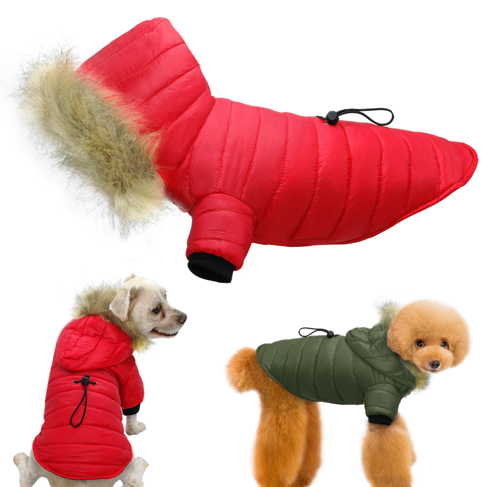 5349be0c Warm Winter Dog Clothes Pet Hooded Coat Jacket With Faux Fur Collar Puppy  Clothing Apparel For