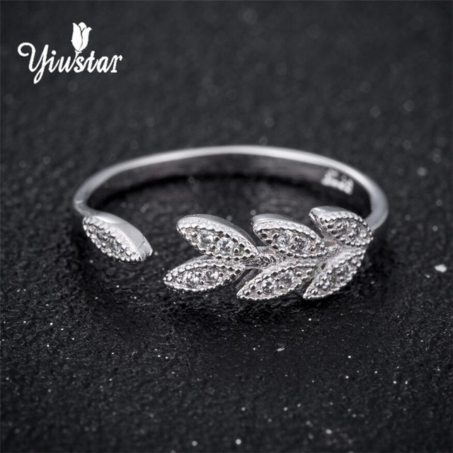 Yiustar 2018 Fashion Simple Open Design Leaf Rings Crystal Leaves