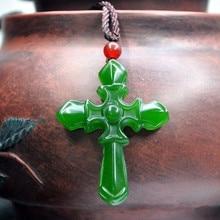 DIY Alta Imitación Verde Jasper Hetian Jade Colgante Cruzado de Jesús Collar De Hermosas Mujeres Joyería de Cadena Libre