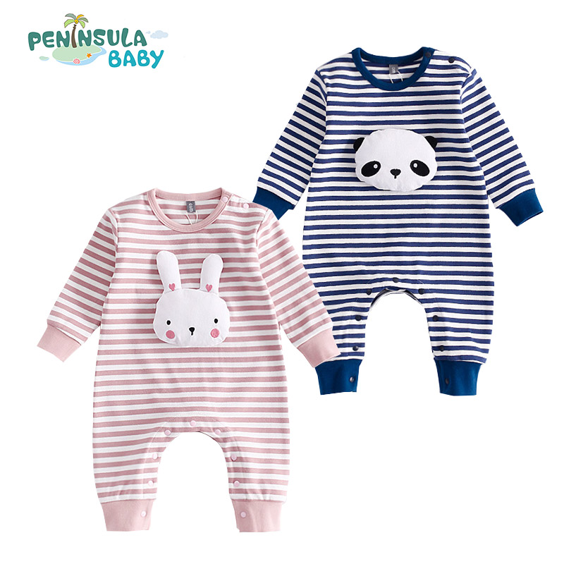 New Baby Born Kids Autumn Panda Striped Romper Cotton Rabbit Newborn Infant Kids Baby Girl Boy Long Sleeve Jumpsuit Babies Cloth