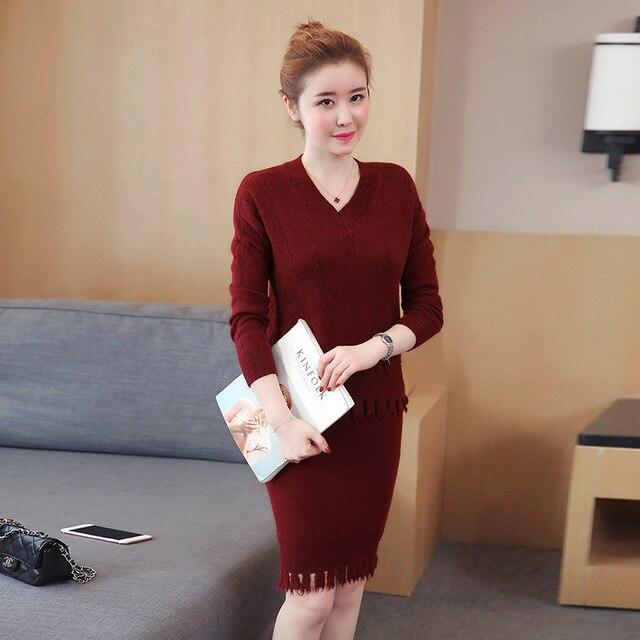 2017 Autumn And Winter New Two-piece Set Women Dress Korean Fashion Slim  Tassel V db1d8cc73acc