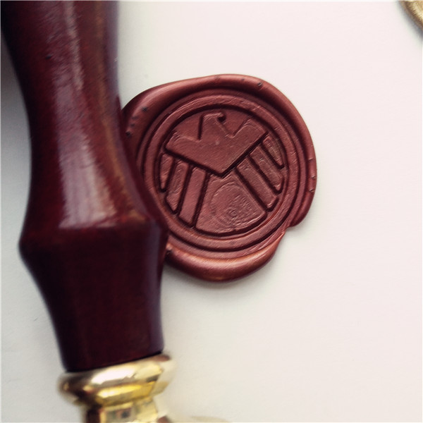 Agents of Shield S.H.I.E.L.D. Badge Stamp wax Seal ,sealing wax stamp with wood handle