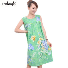 Casual 2018 Summer Nightgowns Cotton Elegant Print Woman Sleepwear Sleeveless Loose Nightgown Female Night Dress Home Dress