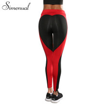 Simenual Bodybuilding heart pattern leggings sportswear mesh splice summer fitness women legging push up athleisure jeggings hot