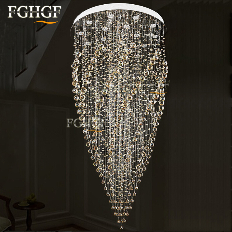 Modern Luster Crystal Chandeliers Lighting Fitting Double Staircase LED Pendant Lamp For Foyer Dining Room Restaurant Decoration