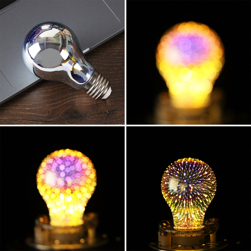 1pc Indoor Festival E27 3D Firworks Meteor Decoration Led Bulb Holiday Novelty Lights