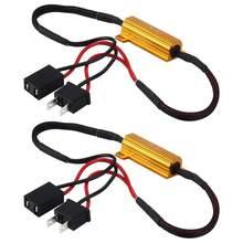 Cancelador de erro de carga do carro 50w, h1 h3 h7 h11 9006 hb3 hb4 h9 h8 h10 led, decodificador canbus luz decodificadora de cancelador de fiação livre