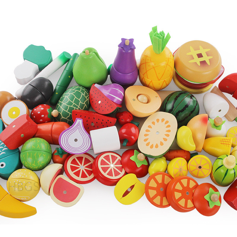Wooden Kitchen Toys Cutting Fruit Vegetable Play Miniature Food Kids & Baby Early Education Food Toys