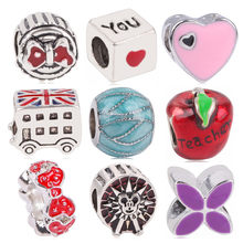 AIFEILI New Silver Color Apple Bus Ferris wheel Bowknot Love Jewelry Marking Beads For Pandora Charm Bracelets Accessories(China)
