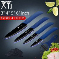 XYj Ceramic Kitchen Knives Set 3 Paring 4 Utility 5 Slicing 6 Chef Knife With Peeler