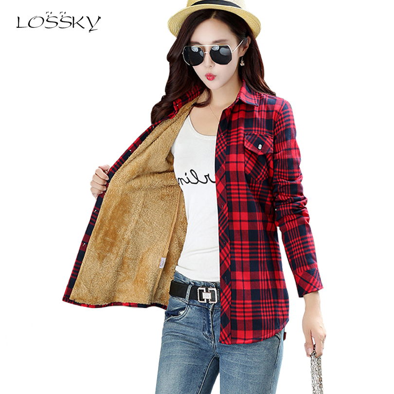 Women Winter Keep Warm Cotton Plaid Blouse Fashion Long Sleeve Turn down Collar Pocket Velvet 2018