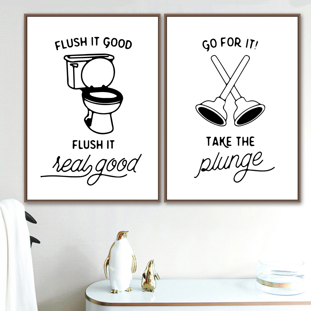 Minimalist Wall Painting Black and White Posters And Prints Quotes Painting Canvas Print Bathroom Picture Decor Poster Unframed in Painting Calligraphy from Home Garden