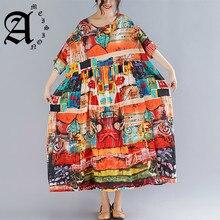 Ameision Plus Size Women Print Dresses Summer Sundress Cotton Female Lady Vestidos Loose Casual Holiday Maxi Dress Big