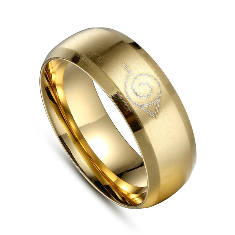 8mm brushed Naruto Konoha Male Gift Movie mens Titanium 316L Stainless Steel gold color Rings For Men Women