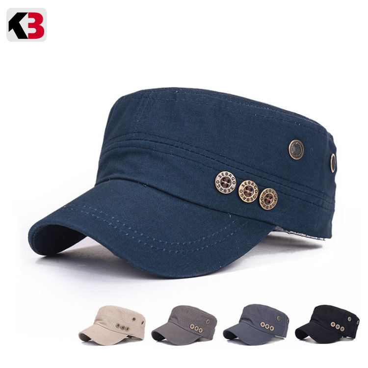 2019 Classic Vintage Flat Top Men Washed Caps And Hat Adjustable Fitted Thicker Cap Winter Warm Military Hats For Men