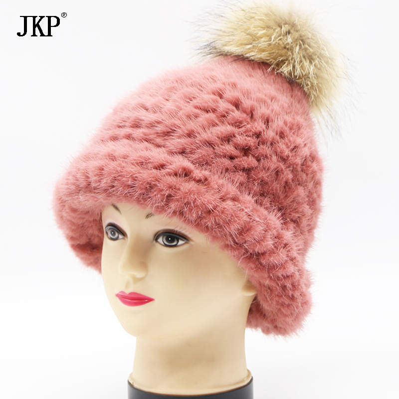 Fashion Fur hat Children Natural knitted Mink Cap Winter Warm Kids Fur Hat Thick Baby Girl boy fur hat