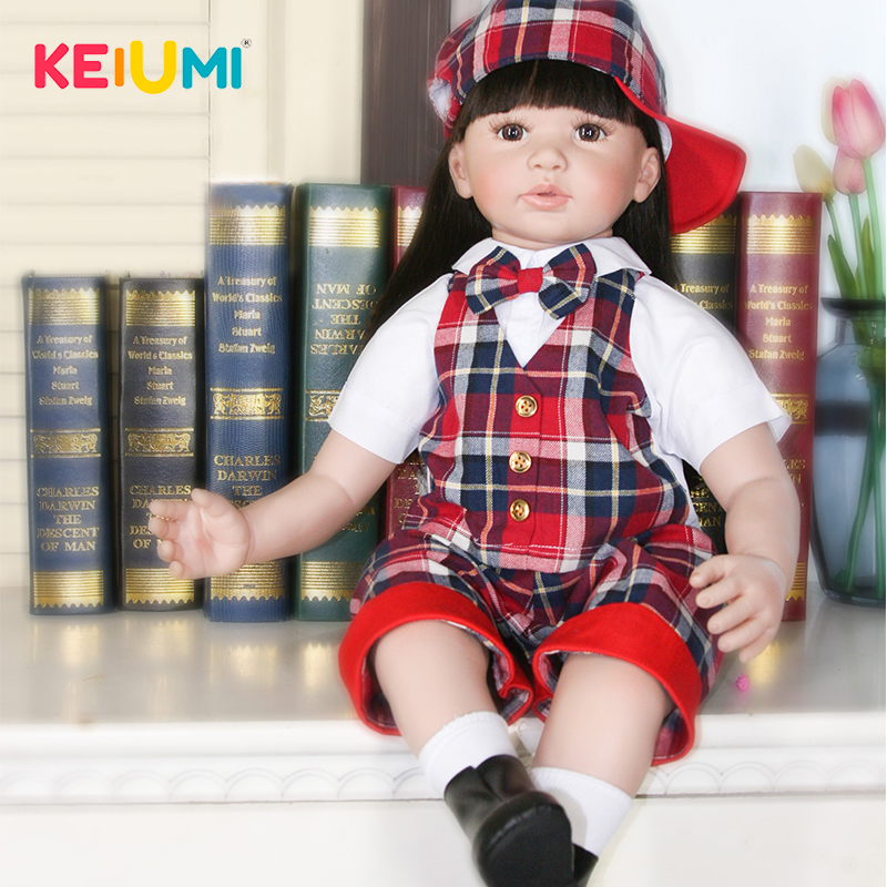 Здесь можно купить   Fashion New 22 Inch 56 cm Reborn Toy Soft Silicone Vinyl Newborn Doll For Girl Alive Reborn Baby Doll Cloth Body Kids Gifts  Игрушки и Хобби