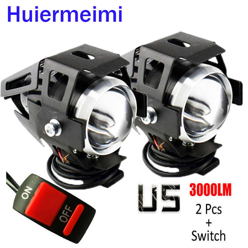 Huiermeimi 2PCS Motorcycle Headlight U5 LED 12V 24V 125W Motorbike Headlamp Moto Accessories Spotlight Head Light auxiliary Lamp