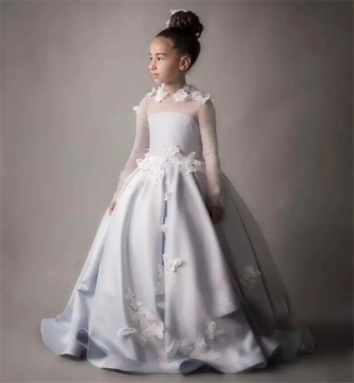 White/Ivory With 3D Flowers Ball Gown Flower Girl Dresses New Flower Girl Dress vestidos de primera comunion gown 2017 pretty pink first communion dress with bow puffy flower girl dresses girl pageant gown vestido de primera comunion