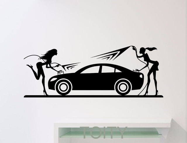 Car Wash Sticker Wall Decor Sexy Girls Car Washing Logo Auto Service