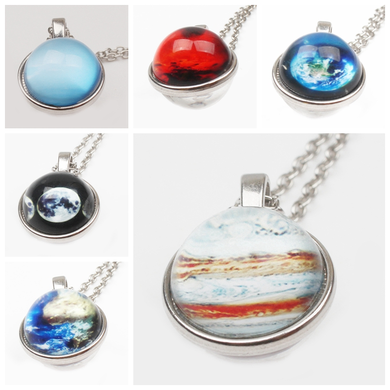 Retro Galaxy Star Sky Glamour Necklace Fashion Lady Nebula Space Sweater Chain Glass Raised Pendant Jewelry Gift Women