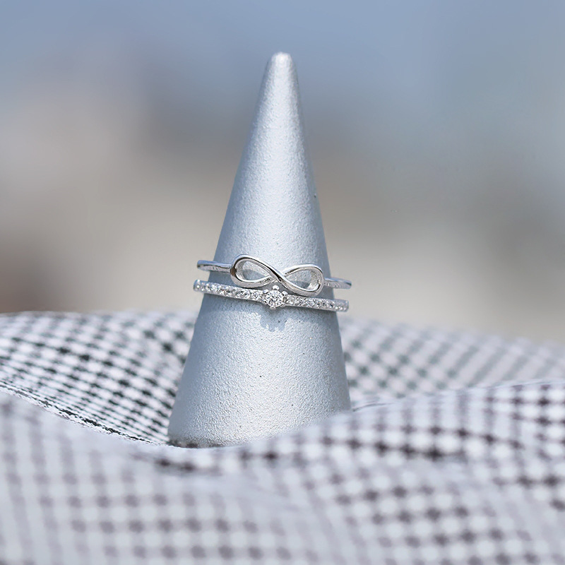 Silver Exquisite Fashion Bow Tie Rings 925 Double deck Adjustable Ring For Women Girl Kids Fashion Jewelry in Rings from Jewelry Accessories