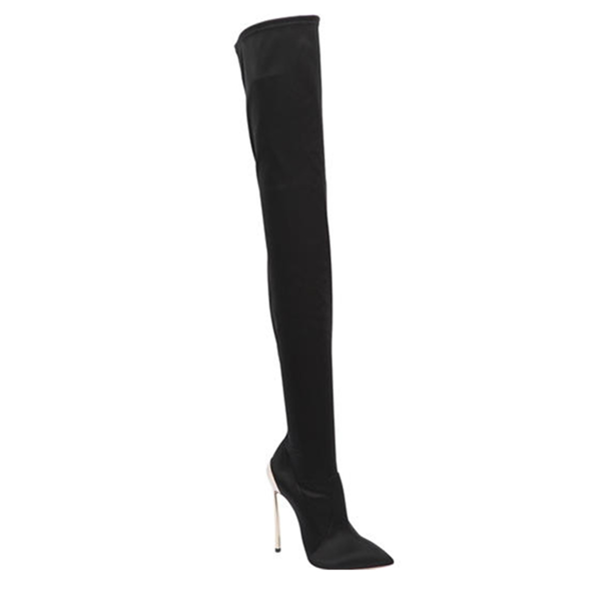 MStacchi Design Sexy Women Fashion Pointed Toe Elastic Metal Stiletto Heel Over Knee Boots Thigh Long High Heel Boots Party Shoe