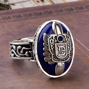 Les carnets de Vampire anneaux Damon et Stefan avec Lapis Lazuli bague en pierre Salvatore Elena Caroline Klaus bague hommes femmes bijoux - 2
