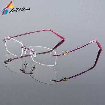 Nuova Alta qualità di lusso titanio Affari occhiali senza montatura montature Larga faccione donne miopia Ottica di lettura Armacao de oculos 616