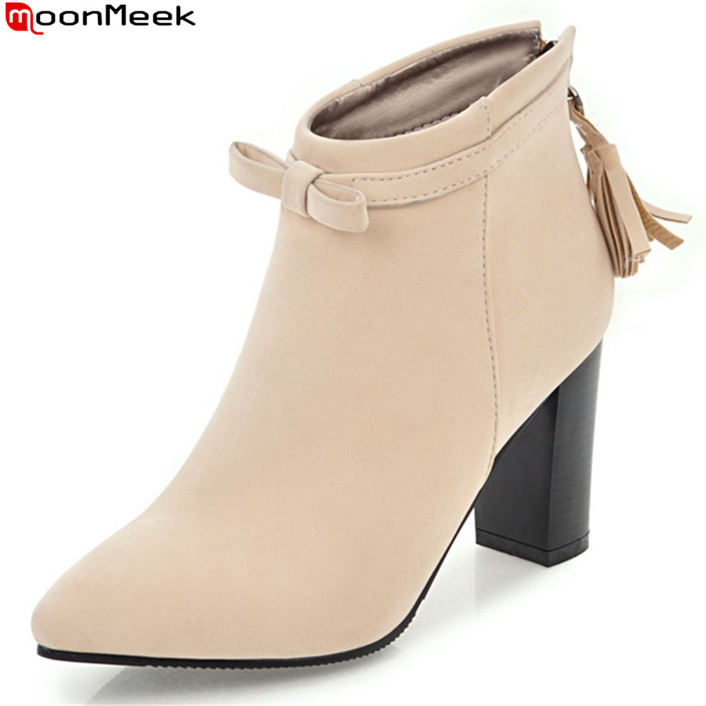 MoonMeek 2018 hot sale new arrive women boots pointed toe flock zipper ladies boots black red brown ankle boots big size 34-43 armoire hot sales black yellow red brown gray flats women slouch ankle boots solid ladies winter nude shoes aa 3 nubuck