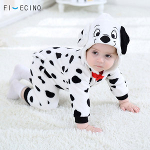 Image 2 - 男の赤ちゃん女の子カバーオールダルメシアンむら犬コスプレ衣装フランネル暖かいブラックホワイトかわいい動物 kigurumis 子供ジャンプスーツパジャマ