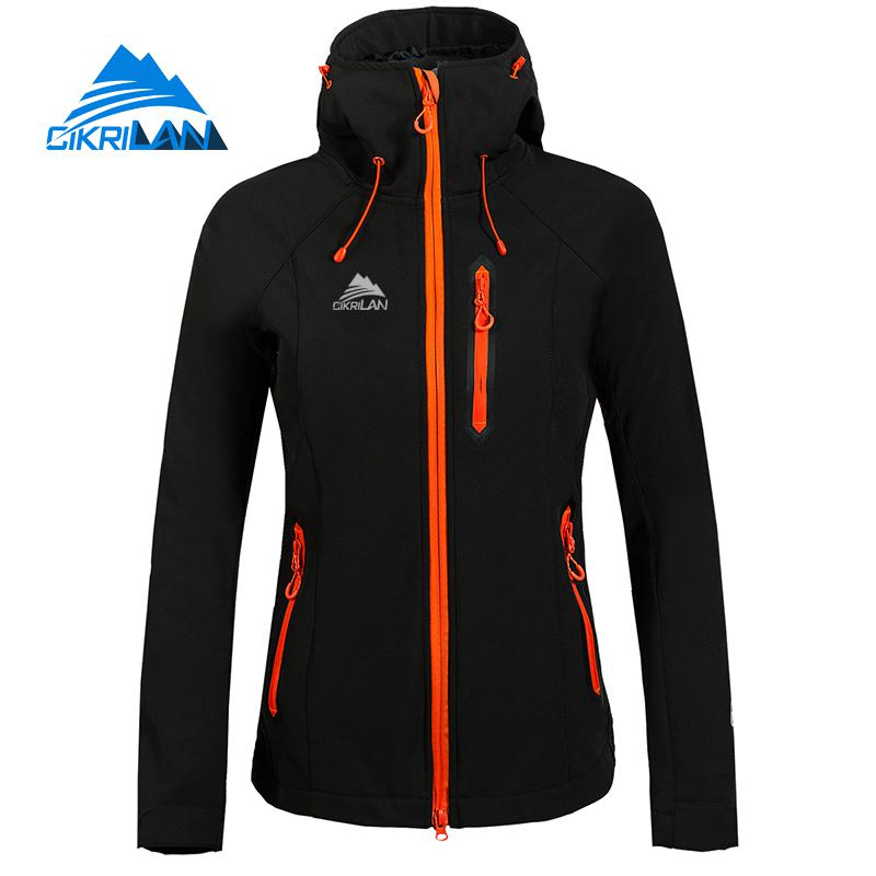Cikrilan Womens Softshell Fleece Lining Hiking Coat Outdoor Jacket Women Windbreaker Waterproof Camping Sports Casaco Feminino