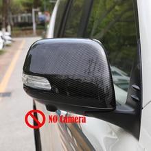 цена на For Toyota Prado FJ150 FJ 150 2010-2018 ABS Carbon fibre Car Side Door Rearview Mirror Protect Frame Cover Trim Accessories 2pcs